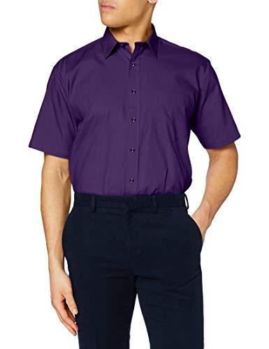 Premier Workwear Premier Popelin Herren Hemd, kurzärmlig (Kragenweite 37cm) (Violett)