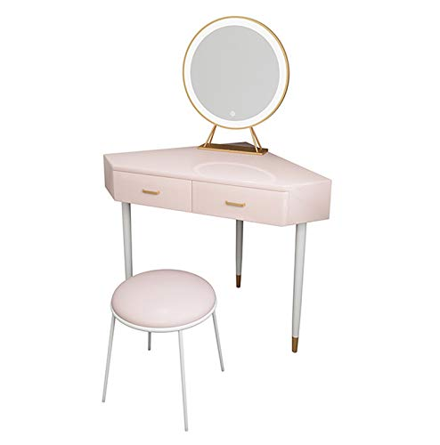 YXF Pink Corner Curved Dressing Table Makeup Desk with 2 Drawer 1 Led Mirror and Stool Makeup Vanity Table Bedroom Furniture with Gloss Table Top