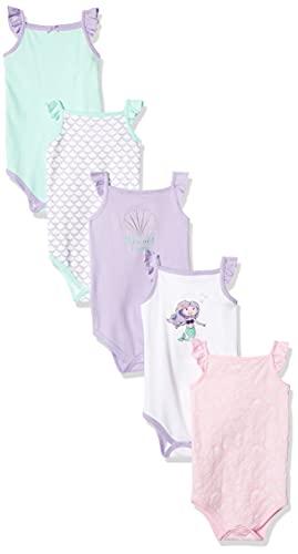 Hudson Baby Unisex Baby Cotton Sleeveless Bodysuits, Mermaid, 3-6 Months
