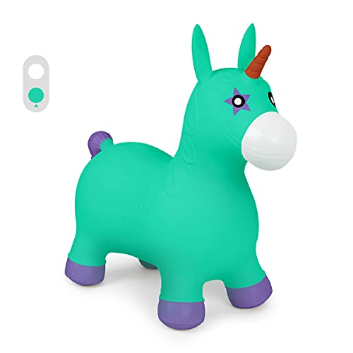 ROBUD Bouncy Horse Hopper for Kids Toddlers, Inflatable Ride-on Animal Toys, with Pump - Unicorn (Green)