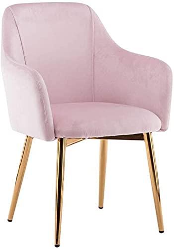 VEESYV Sillas de Comedor Terciopelo Sillas Sofá Ocio para Sala Estar Sillas Respaldo Patas Metálicas para Salón Oficina Cocina Dormitorio (Color : Pink 1)