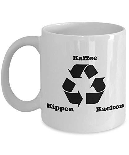 Taza de café alemana Kaffee Kippen Kacken Coffee Cigarette Crap, divertida taza de café alemana, regalo sarcástico de Alemania taza de Deutsch Cup