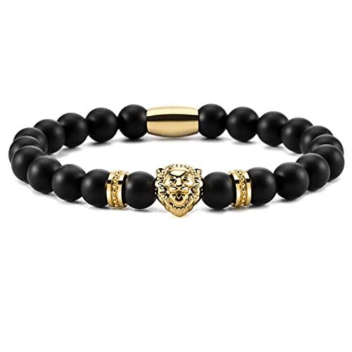 Ourania Onyx Lion Stone Bracelet Men - Black Onyx Beaded Stainless Steel Leo Head Bracelet Women 8mm (Gold)
