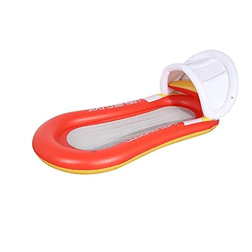 JSBAN Hamaca Flotante Hamaca Flotante Tumbona Inflable Cama Flotante con Visera Solar para Piscinas Piscinas Agua Deportes Aire Colchones (Color : Red with Sun Visor)