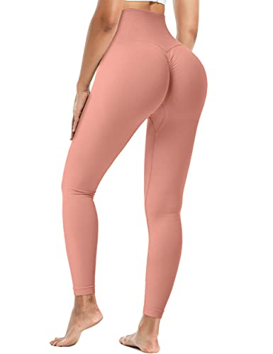 Fulbelle Leggings for Women Butt Lift,Workout Scrunch Ruched Casual Summer Hiking Pants Anti Cellulite Tummy Control Seamless Athletic Biker Running TIK Tok Tights Light Red L