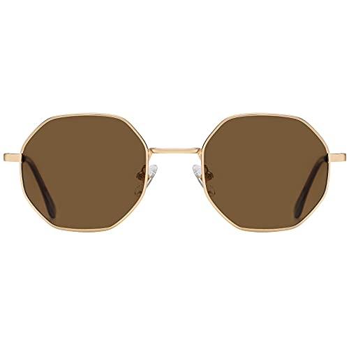 H HELMUT JUST Gafas de sol redondas para mujer,Gafas de sol retro,Gafas de sol redondas para hombres (Golden/Brown)