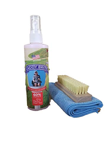 Caddy Brite Golf Shoe and Bag Cleaner 8oz Bottle with Brush and Microfiber Cloth, Great for Golf Shoes, Golf Bags and Golf Balls