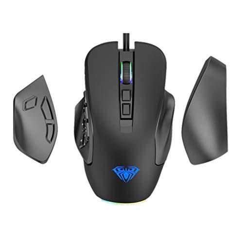 AULA H510 MOBA/FPS/MMO Gaming Mouse, mit RGB Hintergrundbeleuchtung, 9 Seitlichen Tasten, 10,000 DPI Einstellbar Ergonomische USB Verkabelt Spiele Mäuse für PC, Mac Laptop Desktop Rechner (Schwarz)