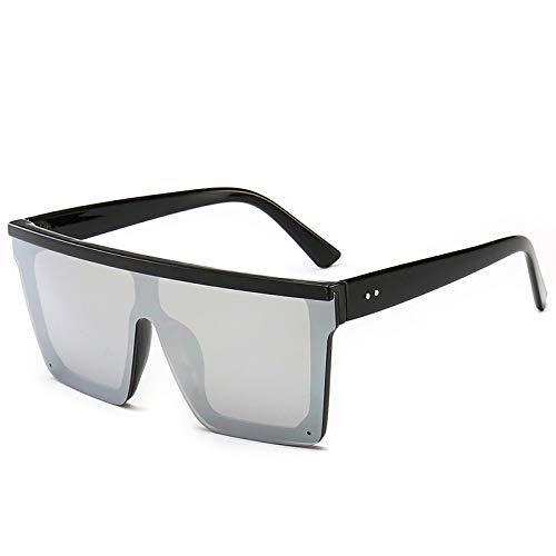 Astemdhj Gafas de Sol Sunglasses Gafas De Sol De Lujo para Mujer Gafas De Sol Transparentes De Gran Tamaño Nuevo Diseñador para Hombre Gafas con Parte Superior Plana Vintage Uv400Anti-UV