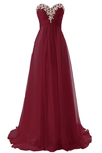 JAEDEN Prom Dress Bridesmaid Dresses Long Prom Gown Chiffon Formal Evening Gowns A line Evening Dress Burgundy US10 (Apparel)