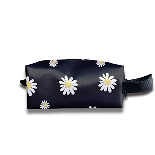 Clash Durable Zipper Wallet Makeup Handbag With Wrist Band Daisy Yellow Flower Toiletry Bag