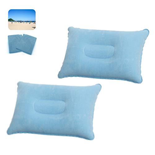 2 almohadas hinchables para camping, color azul claro
