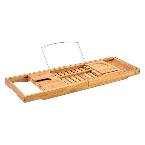 MLWTB Badewannenablage, ausziehbare Bambus-Badebrücke mit Weinregal, Tablettschlitzen, Badezimmer-Ablage