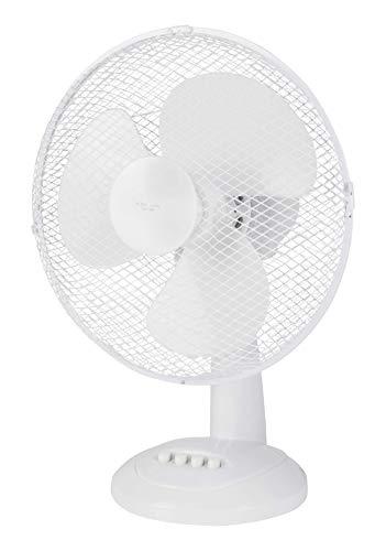 NHC tafelventilator, 30 cm of 31 cm, rotor, tafelventilator, ventilator voor kantoor, enz. Zeer stil, hoge luchtverplaatsing, 3 verschillende snelheden, oscillatiefunctie ca. 90° - wit