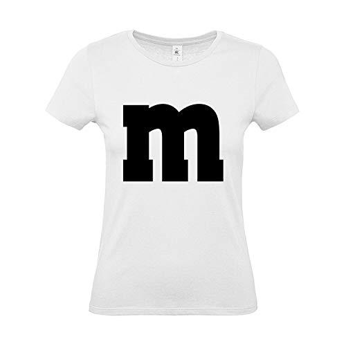 Shirt-Panda Damen T-Shirt · M&M · Gruppen Kostüm · Karneval Shirt · Fasching Verkleidung · Party Tshirt · JGA Frauen · Lady Fit · Mädchen Shirt · 100{9bde26b0a8088dbdf1de8da7effdcc2acbd799ebc7540eeb88917cd734986151} Baumwolle · Weiß S