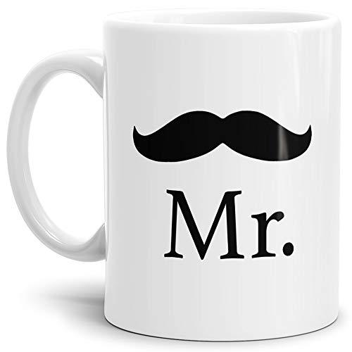 Tassendruck Pärchen-Tasse für Ihn Mr. mit Schnurrbart Geschenk/Partner/Liebe/Love/Beziehung/Paare/Beste Qualität - 25 Jahre Erfahrung