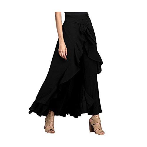 Damesbroek, onregelmatige broek, met ruches, hoge taille, met veters, casual broek, brede broek, S-3 XL, grijs
