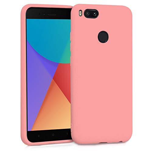 TBOC Funda para Xiaomi Mi A1 - Mi 5X- Carcasa Rígida [Rosa] Silicona Líquida Premium [Tacto Suave] Forro Interior Microfibra [Protege la Cámara] Antideslizante Resistente Suciedad Arañazos