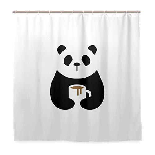 N/ A Waschbarer Badezimmer-Duschvorhang, wasserdicht – Panda-Kaffeemaschinen-Stoff, Badezimmer-Vorhang mit Haken 182,9 x 182,9 cm