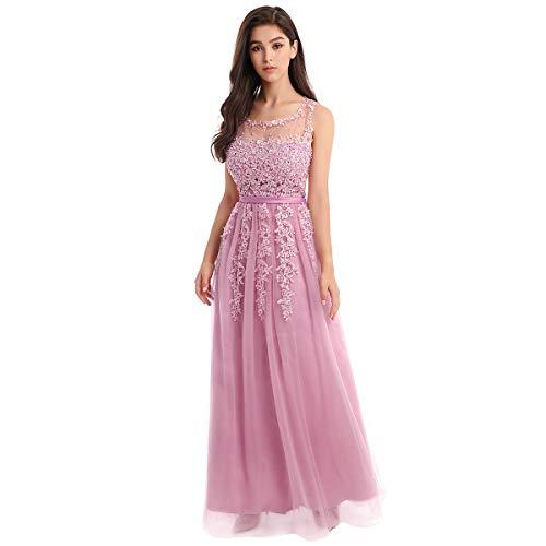 OBEEII Vestido de Fiesta Mujer Sin Mangas con Apliques Encaje Vestido Largo de Verano Elegante Ropa de Dama para Noche Ceremonia Boda Novia Gala Prom