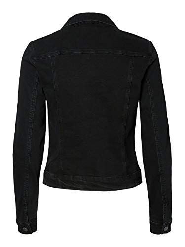 Vero Moda Vmhot SOYA LS Denim Jacket Mix Noos Chaqueta, Negro (Black Black), 42 (Talla del Fabricante: Large) para Mujer