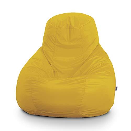 Pouf Poltrona Sacco Gigante Bag XXL Jive 100x100x110cm Made in Italy in Tessuto antistrappo Imbottito Colore Giallo Limone