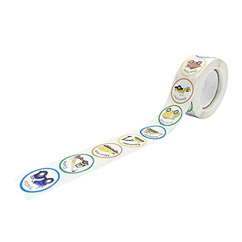 ONT Kinder Sticker Baustellenfahrzeuge Aufkleber 500 Stickers Roll mit 8 verschiedenen Bildern Lehrer Belohnen Aufkleber für handgemachte LKW Geburtstagspartys