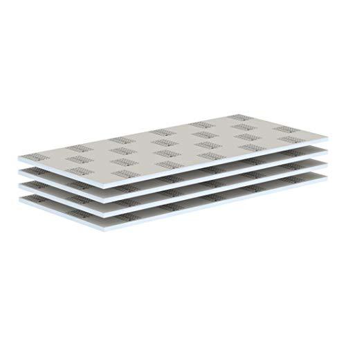 LUX ELEMENTS Bauplatte Fertig zum Verfliesen, 125 x 60 cm, 4 Stück (3 qm) LELEE4141, Grau, 20 mm