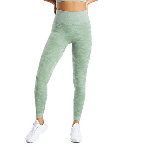 WOZOW Damen Leggings Gamaschen Farbverlauf Camo Print Druck Dünn Skinny Stretch Trousers Sweathose Lang Long Workout Jogginghose Yoga Sport Hose Stoffhose (XL,Grün)