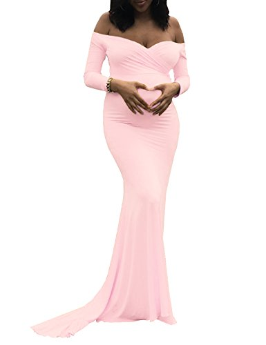 Saslax Women's Off Shoulders Sweetheart Neckline Long Sleeves Maternity Slim Fit Gown for Photography Dress Pink Medium