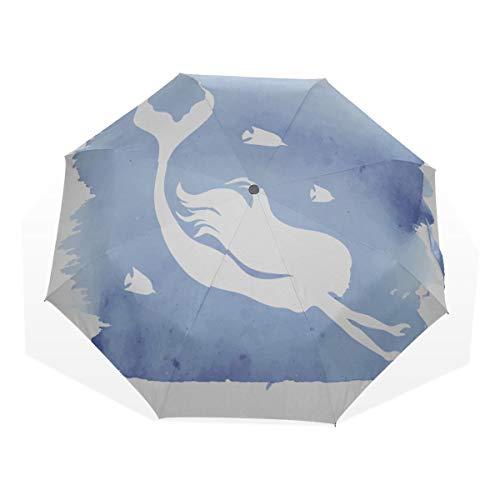Sun Shade Umbrella Tragbare Meerjungfrau Silhouette Aquarell 3-Fach Kunst Regenschirme (Außendruck Regenschirm Faltbarer Lichtschirm für Reiseschirm Sonnenschutz Compact
