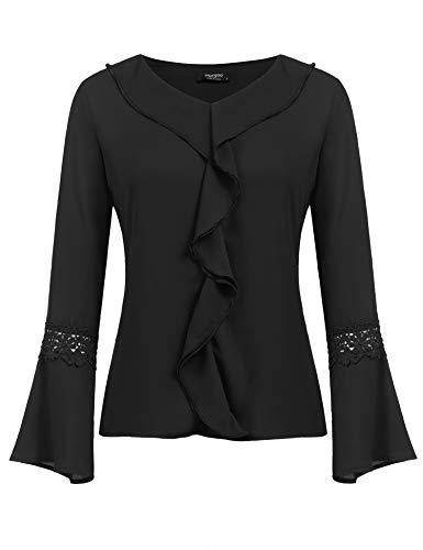 Beyove Damen Elegant Business Chiffonbluse Tunika Langarmshirts mit Rüschen Stehkragen Knöpfen Festlich Tops (XL, Z-Schwarz)
