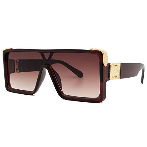 Gafas de sol de sol de moda Montura de té transparente con montura de una pieza