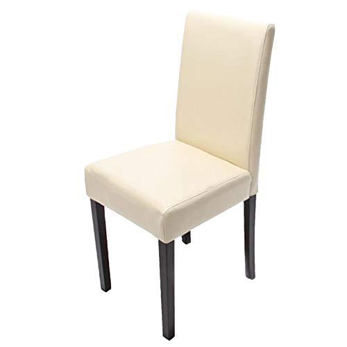 Mendler Esszimmerstuhl Littau, Küchenstuhl Stuhl, Leder ~ Creme, dunkle Beine