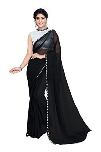 SOURBH Women's Plain Weave Georgette Saree with Blouse Piece (1023-Black)