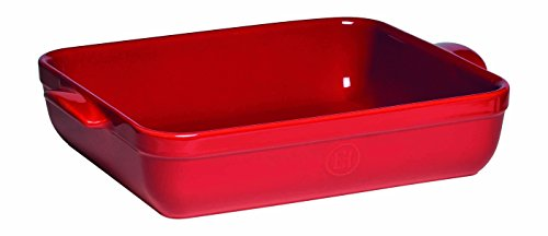 "Emile Henry Made In France Lasagna/Roasting Dish 13.75"" x 10""x 2.75"" Burgundy Red"