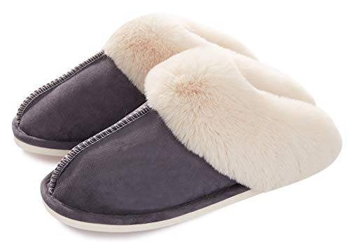 Womens Slipper Memory Foam Fluffy Soft Warm Slip On House Slippers,Anti-Skid Cozy Plush for Indoor...