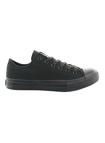 JUMEX Schuhe Herren Canvas Low Top Sneaker Freizeitschuhe JX-9023 Schwarz-Schwarz EUR 41