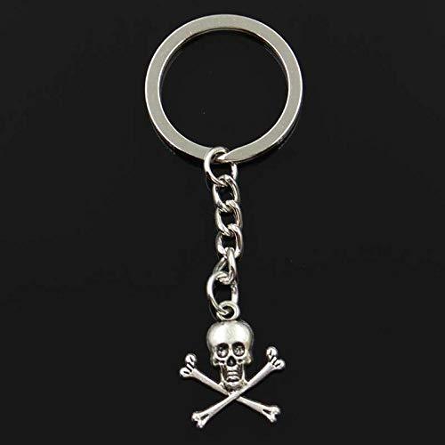 Wjlytf Llavero de moda, esqueleto de calavera, signo peligroso, colgantes de colores DIY, anillo de joyería para coche, regalo 24x19mm