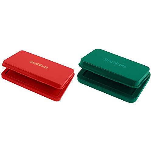 【セット買い】シヤチハタ スタンプ台 HGN-3-R 大形 赤 & シヤチハタ スタンプ台 HGN-1-G 小形 緑