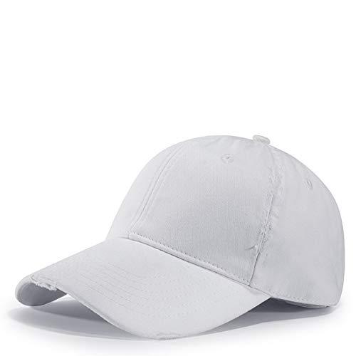 Gorras de béisbol,Creative Distressed Cotton White Hat Washed Lightweight Breathable Comfortable Adjustable Adjustable Exterior Personalizado Vacaciones Más Gruesos Sombreros De Tenis De Playa