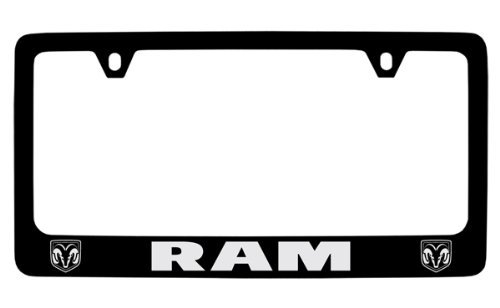 Dodge Ram Black Coated Metal License Plate Frame Holder
