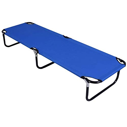Giantex Folding Camping Cot, Collapsible Portable Foldable Bed Indoor & Outdoor Use, Ultra Lightweight, Heavy Duty Design, Military Camping Bed for Travel Hiking Fishing Hunting, Single Sleeping Bed