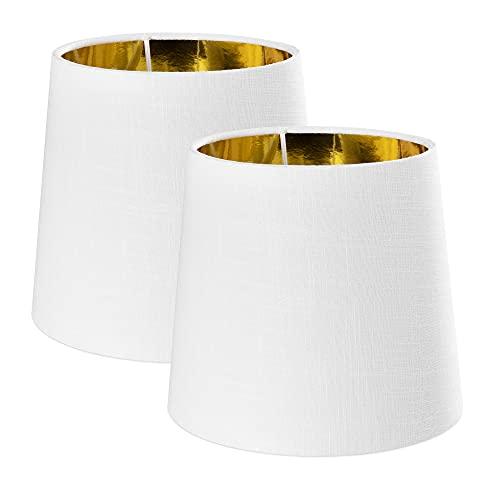 Navaris Pantallas de lámpara blanco y dorado - Set 2x Pantalla redonda estilo vintage para lámparas de mesa salón dormitorio - Portalámparas E14