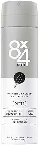 8X4 Men Deo Spray N°11 Unique Spirit (150 ml), Deodorant mit anregend-aromatischem Duft, 48h zuverlässiges Deo ohne Aluminium für jeden Hauttyp