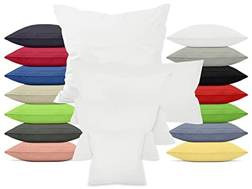 npluseins Doppelpack zum Sparpreis - Baumwoll-Kissenbezüge - Moderne Wohndekoration in schlichtem Design, 40 x 40 cm, weiß