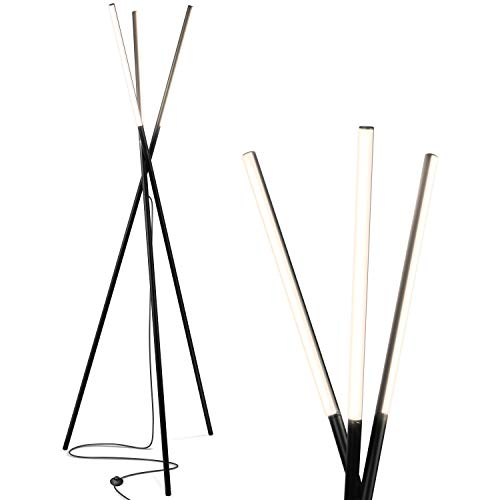 Brightech Stix LED Tripod Floor Lamp for Living Room - Dimmable Modern Standing Lamp, with 3 Lights for Bedroom - Contemporary Office Lighting- Black