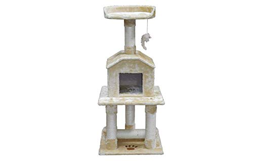 "Mix.Home Beige 45"" Cat Tree Condo with Dangling Toy. Best Choice for Your Pets. Kitty Posts. Cat's Stands. Best Cat Bed & Trees & Condos. Pet's Playground."