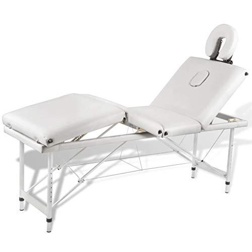 vidaXL Mesa de Masaje Camilla de Masaje Aluminio Plegable 4 Zonas +...