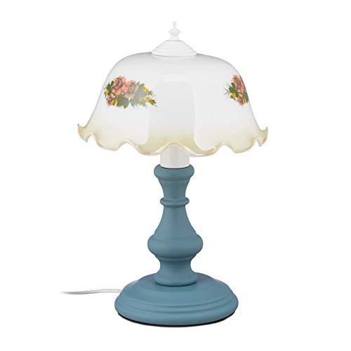 Relaxdays Tischlampe, Vintage Blumenmuster, Landhaus Stil, E27, Nachttischlampe, HxD: 43x28 cm, Holz, Glas, weiß/grau